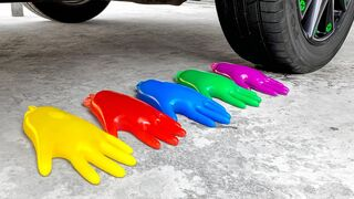 Crushing Crunchy & Soft Things by Car!- Experiment Car vs Glove Color