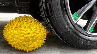 Crushing Crunchy & Soft Things by Car! Experiment Car vs Durian