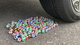 Experiment Car vs Pacman vs Giant Soccer Balls | Crushing Crunchy & Soft Things by Car | Satisfying