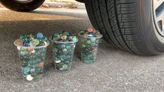 Crushing Crunchy & Soft Things by Car! Experiment Car vs 1000 Marbles | Satisfying