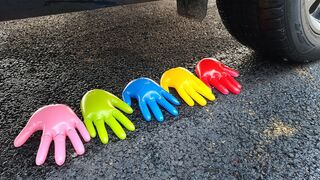 Crushing Crunchy & Soft Things by Car! EXPERIMENT: Car vs Hands, Toys, Balloons