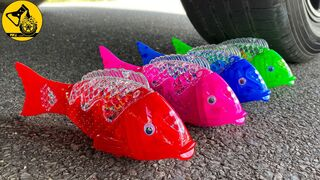 Crushing Crunchy & Soft Things by Car! Experiment Car vs Fish Toy and Water Balloons