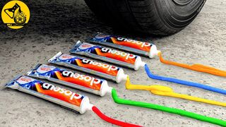 Experiment: Car vs Colored Toothpastes | Crushing Crunchy & Soft Things by Car