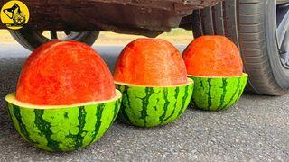 السيارة مقابل البطيخ والتفاح والكوكاكولا | Experiment: Car vs Watermelon, Apple and Coca Cola