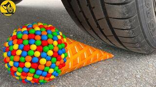 Experiment Car vs Candy Ball, Pepsi Orange Balloon - يخلق مخروط الآيس كريم مع حلوى M&M صوتًا مقرمشًا