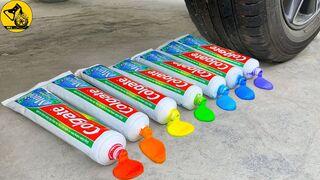 Experiment: Car vs Color Toothpaste with Balloons | 7 أنابيب من معجون الأسنان تصدر صوتًا لطيفًا