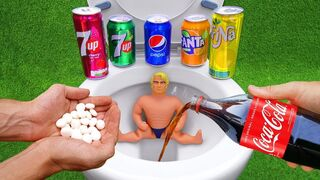 Experiment !! Stretch Armstrong VS Cola, Mtn Dew, Pepsi, Fanta, Monster and Mentos in Underground