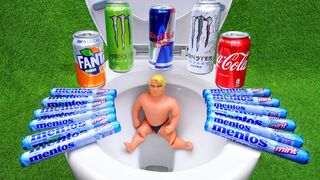 Cola, Different Fanta, Pepsi,Sprite and Stretch Armstrong vs Mentos in Big Toilet Underground