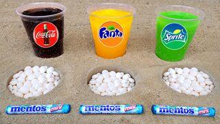 Experiment !! Mentos and Coca Cola, Fanta, Mtn Dew, Fruko In Big Underground