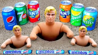 Cola, Different Fanta, Pepsi,Sprite and Stretch Armstrong vs Mentos in Crabs Underground