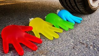 Crushing Crunchy & Soft Things by Car! - EXPERIMENT:  WATER GLOVE vs SLIME