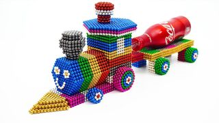 DIY  Build Train Carrying Coca Cola from Magnetic Balls ASMR   %106 Satisfaction