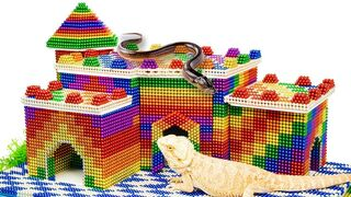 Build Lizard Castle And Swimming Pool For Eel Fish With Magnetic Balls (Satisfying) - Magnetic Cube