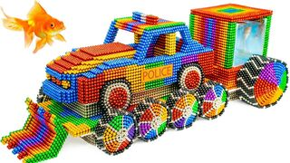 Most Creative - Build Police Monster Truck Aquarium With Magnetic Balls (Satisfying) - Magnetic Cube