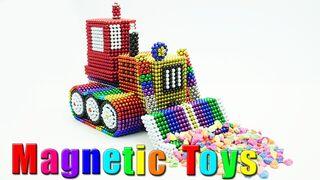 DIY - How to Make Bulldozer Truck From Magnetic Balls (ASMR) - Magnetic Toys 4K