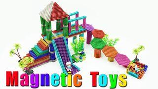 DIY - Building Slide Bridge Playground with Magnetic Balls (ASMR) - Magnetic Toys 4K