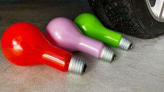 Crushing crunchy & Soft things by car! Experiment Car vs Big Light Bulbs