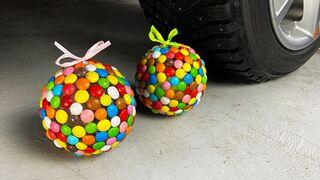 Crushing Crunchy & Soft Things by Car! EXPERIMENT CAR VS M&M SWEET BALL CANDY