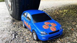 Crushing Crunchy & Soft Things by Car! EXPERIMENT: CAR vs  BLUE CAR