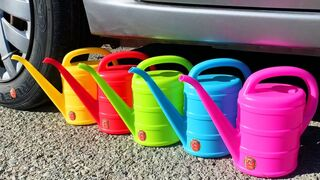 Crushing Crunchy & Soft Things by Car! EXPERIMENT Car vs Rainbow Watering Cans
