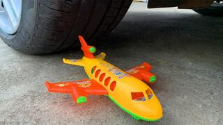 Crushing Crunchy & Soft Things by Car. EXPERIMENT: CAR vs PLANE (TOY)