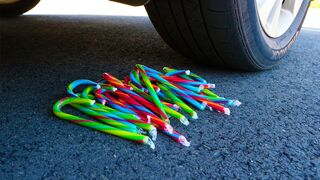 Crushing Crunchy & Soft Things by Car! - EXPERIMENT Crushing Candy Canes by Car