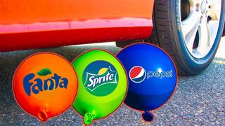 Crushing Crunchy & Soft Things by Car! - EXPERIMENT Car vs Coca Cola, Fanta, Sprite Balloons