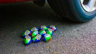 Crushing Crunchy & Soft Things by Car! - EXPERIMENT Colorful Chocolate Eggs vs Car