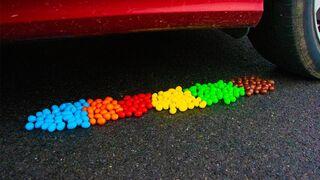 Crushing Crunchy & Soft Things by Car! - Rainbow M&Ms vs Car