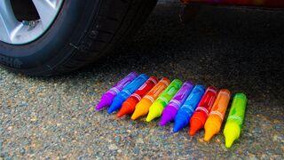Crushing Crunchy & Soft Things by Car! - Rainbow Crayon Glue vs Car