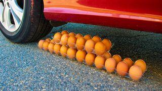 Crushing Crunchy & Soft Things by Car! - 100 Eggs vs Car