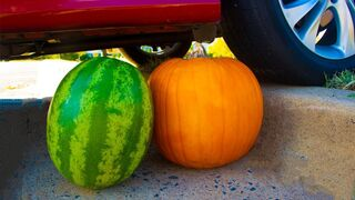Crushing Crunchy & Soft Things by Car! - EXPERIMENT Watermelon and Pumpkin vs Car
