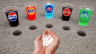 Experiment! Cola, Different RedBull, Pepsi,Sprite and Stretch Armstrong vs 3 Mentos Big Underground