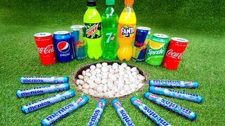 Coca Cola, Pepsi,Sprite Different Fanta and Stretch Armstrong vs Mentos in Big Purple Underground
