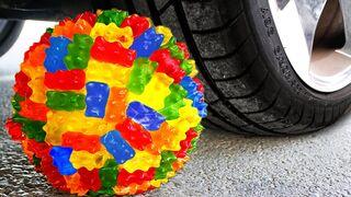 Crushing Crunchy & Soft Things by Car! Experiment Car vs Gummy Bear Ball