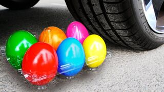 Experiment Car vs Rainbow eggs | Crushing Crunchy & Soft Things by Car!