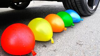 Experiment Car vs Water Color Balloons | Crushing Crunchy & Soft Things by Car!