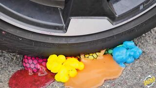 Experiment Car vs Water Color Balloons   Crushing Crunchy & Soft Things by Car!