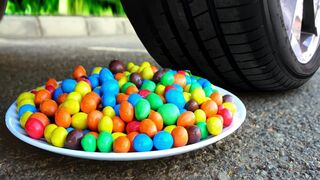 Experiment Car vs M&Ms PLATE | Crushing Crunchy & Soft Things by Car!