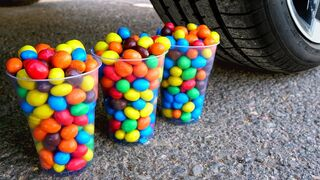 Experiment Car vs M&Ms CUPS | Crushing Crunchy & Soft Things by Car!