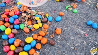 Experiment Car vs M&Ms CUPS   Crushing Crunchy & Soft Things by Car!