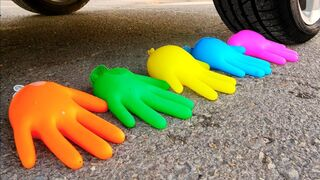 Crushing Crunchy & Soft Things by Car! - EXPERIMENT: CAR vs COLORFUL WATER GLOVE BALLOONS