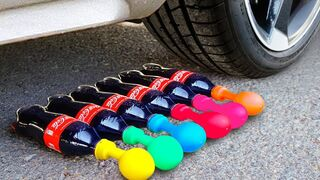 Crushing Crunchy & Soft Things by Car! - EXPERIMENT: CAR vs COCA COLA BALLOONS