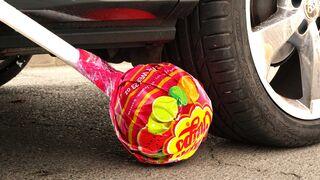 Crushing Crunchy & Soft Things by Car! - EXPERIMENT: CHUPA CHUPS VS CAR VS FOOD
