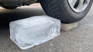 Crushing Crunchy & Soft Things by Car!   EXPERIMENT: CAR VS GIANT ICE 2