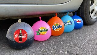 Crushing Crunchy & Soft Things by Car! EXPERIMENT: Car vs Coca Cola, Fanta, Mirinda Balloons 5