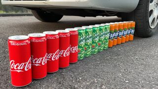EXPERIMENT: Car vs Coca Cola, Fanta, Mirinda Balloons   Crushing Crunchy & Soft Things by Car!
