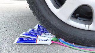Crushing Crunchy & Soft Things by Car! EXPERIMENT: Car vs Coca Cola, Fanta, Mirinda Balloons 6