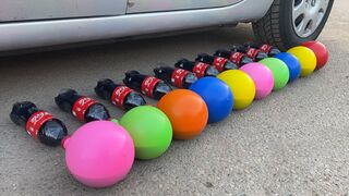 Crushing Crunchy & Soft Things by Car! EXPERIMENT: Car vs Coca Cola, Fanta, Mirinda Balloons 4