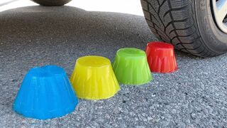 EXPERIMENT: Car vs Blue, Yellow, Green, Red Jelly - Crushing Crunchy & Soft Things by Car!